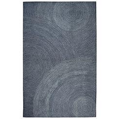 Indigo and Ivory Space Dyed Swirl Area Rug, 5x8