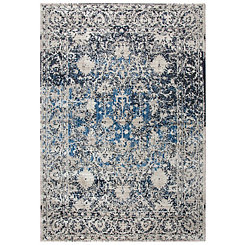 Black and Blue Transitional Motif Area Rug, 8x10