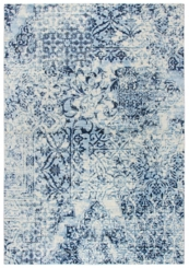 Ivory and Blue Floral Patchwork Area Rug, 5x8