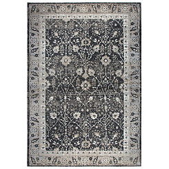 Black and Tan Distressed Motif Area Rug, 5x8