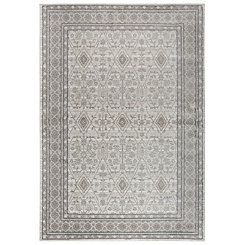 Beige and Gray Traditional Border Area Rug, 5x8