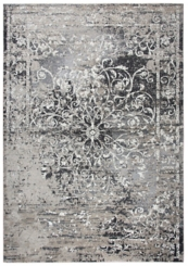 Gray and Taupe Scrolled Medallion Area Rug, 5x8