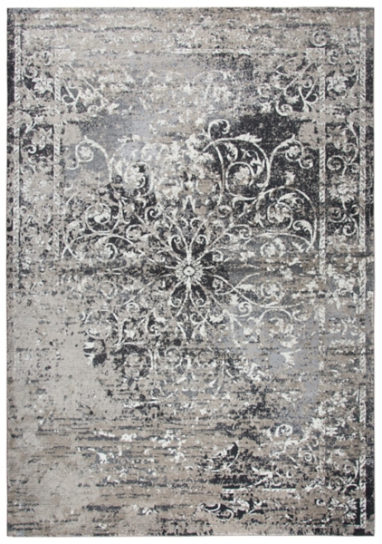 gray and taupe scrolled medallion area rug 5x8