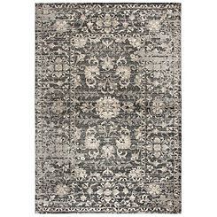 Gray and Tan Distressed Floral Area Rug, 5x8
