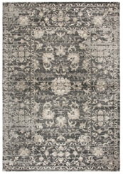 Gray and Tan Distressed Floral Area Rug, 8x10