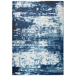 Ivory and Blue Abstract Area Rug, 5x8