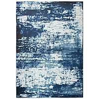 Ivory and Blue Abstract Area Rug, 8x10