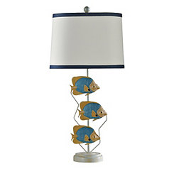 Three Metal Fish Table Lamp