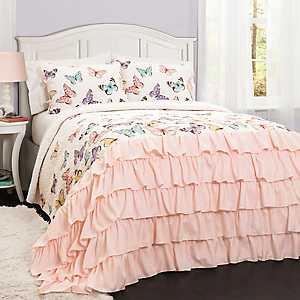 Pink Flutter Butterfly 2-pc. Twin Quilt Set