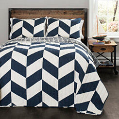 Navy Jigsaw Chevron 2-pc. Twin Quilt Set