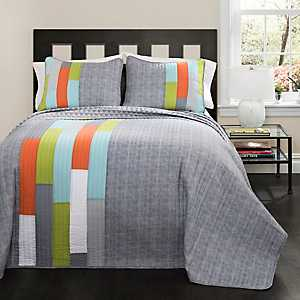 Gray Shelly Stripe 2-pc. Twin Quilt Set