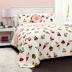 Cupcake and Ice Cream 3-pc. Twin Quilt Set