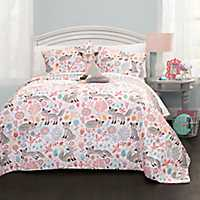 Gray and Pink Pixie Fox 3-pc. Twin Quilt Set
