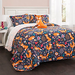 Navy and Orange Pixie Fox 3-pc. Twin Quilt Set