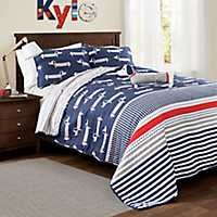 Navy Dachshund 3-pc. Twin Quilt Set
