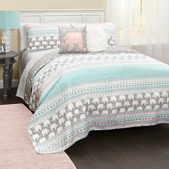 Elephant Striped 4-pc. Twin Quilt Set