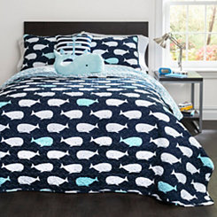 Navy Whale 4-pc. Twin Quilt Set