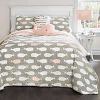 Pink Whale 4-pc. Twin Quilt Set