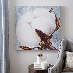 Blue Cotton Boll Canvas Art Print
