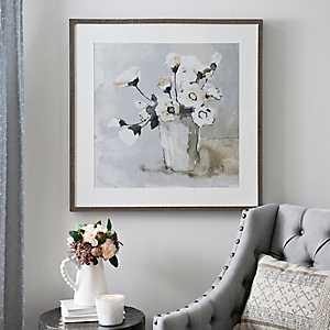 White Poppies on Gray Framed Art Print