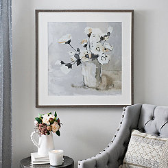 White Poppies on Gray Framed Art Print