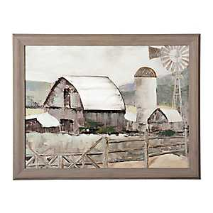 Gray Barn and Windmill Framed Art Print