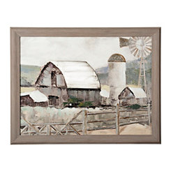 Gray Barn and Windmill Framed Art Print