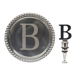 Pewter Monogram B Wine Coaster and Stopper Set