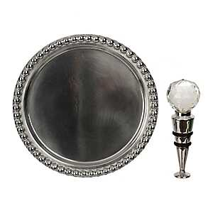 Pewter Blank Wine Coaster and Stopper Set