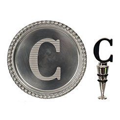 Pewter Monogram C Wine Coaster and Stopper Set