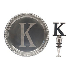 Pewter Monogram K Wine Coaster and Stopper Set