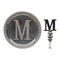 Pewter Monogram M Wine Coaster and Stopper Set