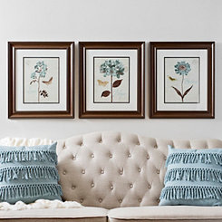 Touch of Blue Framed Art Prints, Set of 3