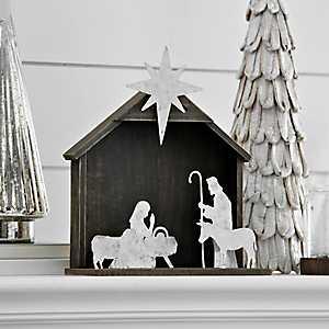 Galvanized Figures and Wood Crèche Nativity Scene