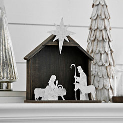 Galvanized Figures and Wood Crèche Nativity Scene