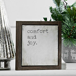 Comfort and Joy Framed Tabletop Canvas Block