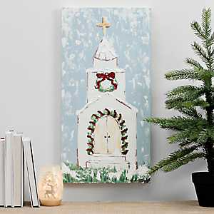 Christmas Church Canvas Art Print