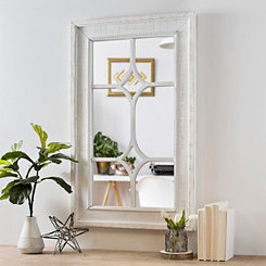 Weathered White Double Marquis Paned Wall Mirror