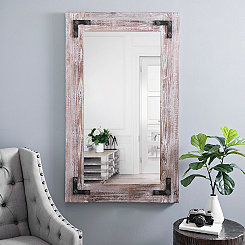 Rustic Weathered Wood Frame Mirror