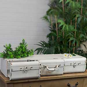 Decorative Metal Suitcase 3-Drawer Organizer Shelf