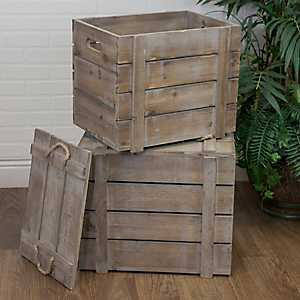 Wooden Storage Crates With Lids, Set of 2