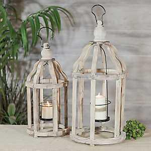 Carved Wooden Hanging Lanterns, Set of 2
