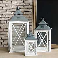 White Wooden Hanging Lanterns, Set of 3