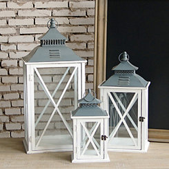 White Wooden Hanging Lanterns, Set of 3