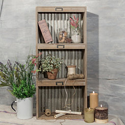 Galvanized Metal and Wood Wall Shelf