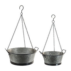 Galvanized Metal Hanging Bucket Planters, Set of 2