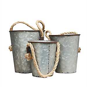 Galvanized Metal Hanging Bucket Planters, Set of 3
