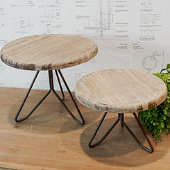 Wood and Metal Stools, Set of 2