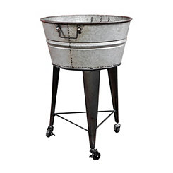 Galvanized Metal Beverage Tub On Rolling Stand