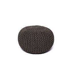 Gray Round Woven Jute Pouf